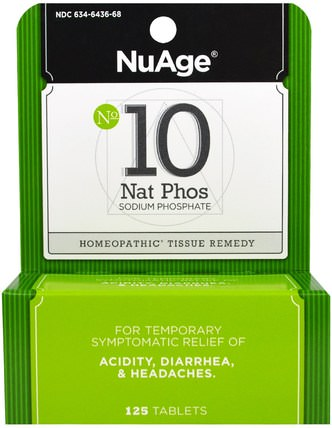 NuAge, No 10 Nat Phos, Sodium Phosphate, 125 Tablets by Hylands, 健康,頭痛,腹瀉 HK 香港