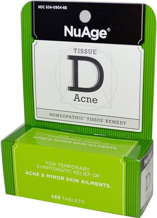 NuAge, Tissue D Acne, 125 Tablets by Hylands, 健康,痤瘡 HK 香港