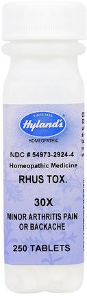 Rhus Tox. 30X, 250 Tablets by Hylands, 健康,關節炎,抗疼痛 HK 香港