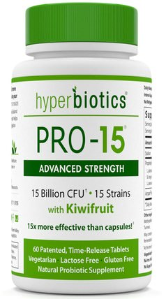 PRO - 15, Advanced Strength, With Kiwifruit, 60 Time-Release Tablets by Hyperbiotics, 補充劑,益生菌,消化,胃 HK 香港