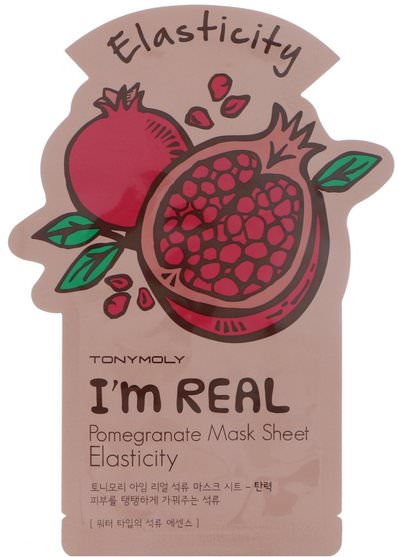 健康 - Tony Moly, Im Real, Pomegranate Mask Sheet, Elasticity
