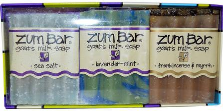 Zum Bar, Goats Milk Soaps Gift Pack, 3 Bars, 3 oz Each by Indigo Wild, 沐浴禮品套裝,沐浴,美容,肥皂,禮品套裝 HK 香港