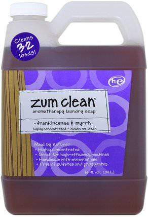Zum Clean, Aromatherapy Laundry Soap, Frankincense & Myrrh, 32 fl oz (.94 l) by Indigo Wild, 家庭,洗衣粉,兒童健康,嬰兒洗衣粉 HK 香港