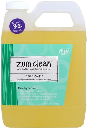 Zum Clean, Aromatherapy Laundry Soap, Sea Salt, 32 fl oz (.94 L) by Indigo Wild, 家庭,洗衣粉,兒童健康,嬰兒洗衣粉 HK 香港