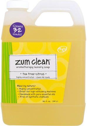 Zum Clean, Aromatherapy Laundry Soap, Tea Tree-Citrus, 32 fl oz (.94 L) by Indigo Wild, 家庭,洗衣粉,兒童健康,嬰兒洗衣粉 HK 香港