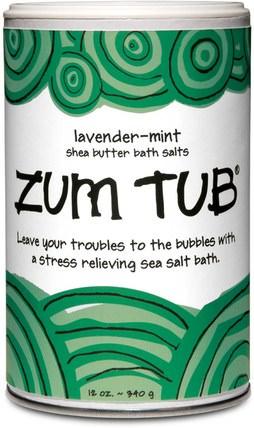 Indigo Wild, Zum Tub, Shea Butter Bath Salts, Lavender-Mint, 12 oz (340 g) 洗澡,美容,乳木果油,沐浴鹽