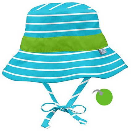 9-12 Months, Aqua Stripe by iPlay Classic Reversible Bucket Sun Protection Hat, 兒童健康,嬰兒,兒童,iplay太陽鏡 HK 香港