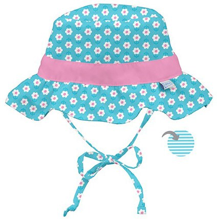 9-18 Months, Aqua Daisy by iPlay Classic Reversible Ruffle Bucket Sun Protection Hat, 兒童健康,嬰兒,兒童,iplay太陽鏡 HK 香港