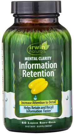 Information Retention, Mental Clarity, 60 Liquid Soft-Gels by Irwin Naturals, 健康,注意力缺陷障礙,添加,adhd,大腦,記憶,大腦和認知功能 HK 香港