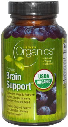 Organics, Brain Support, 60 Tablets by Irwin Naturals, 健康,注意力缺陷障礙,添加,adhd,腦 HK 香港