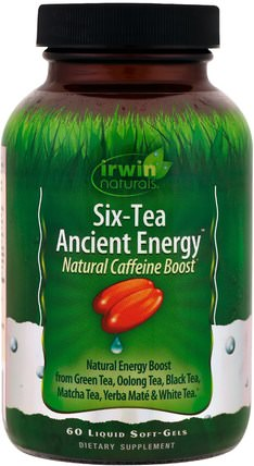 Six-Tea Ancient Energy, Natural Caffeine Boost, 60 Liquid Soft-Gels by Irwin Naturals, 健康,飲食 HK 香港