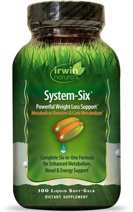 System-Six, Powerful Weight Loss Support, 100 Liquid Soft-Gels by Irwin Naturals, 健康,飲食,減肥 HK 香港
