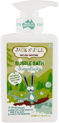 Natural Bathtime, Bubble Bath, Simplicity, 10.14 fl. oz (300 ml) by Jack n Jill, 洗澡,美容,泡泡浴 HK 香港