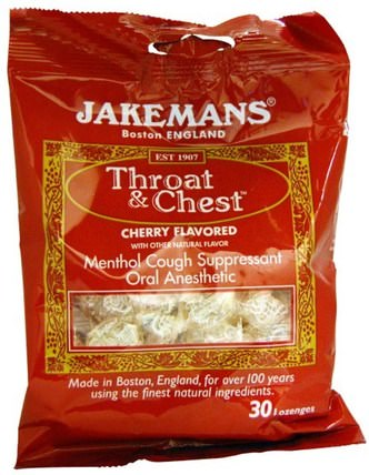 Throat & Chest, Menthol Cough Suppressant, Cherry Flavored, 30 Lozenges by Jakemans, 健康,肺和支氣管,咳嗽滴 HK 香港