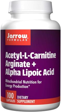 Acetyl L-Carnitine Arginate + Alpha Lipoic Acid, 100 Capsules by Jarrow Formulas, 補充劑,氨基酸,左旋肉鹼,乙酰左旋肉鹼,乙酰左旋肉鹼+α-硫辛酸 HK 香港