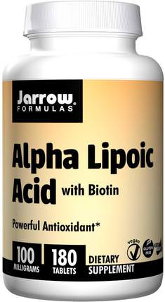 Alpha Lipoic Acid, with Biotin, 100 mg, 180 Tablets by Jarrow Formulas, 補充劑,抗氧化劑,α硫辛酸,α硫辛酸100毫克 HK 香港