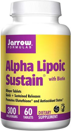Alpha Lipoic Sustain, with Biotin, 300 mg, 60 Tablets by Jarrow Formulas, 補充劑,抗氧化劑,α硫辛酸,α硫辛酸300毫克 HK 香港