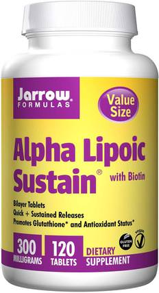 Alpha Lipoic Sustain, with Biotin, 300 mg, 120 Tablets by Jarrow Formulas, 補充劑,抗氧化劑,α硫辛酸 HK 香港