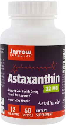 Astaxanthin, 12 mg, 60 Softgels by Jarrow Formulas, 補充劑,抗氧化劑,蝦青素 HK 香港