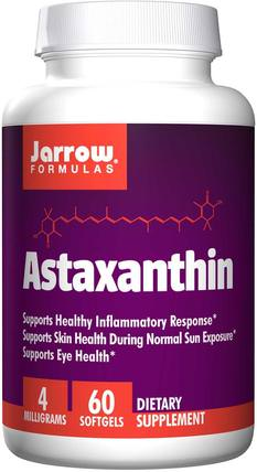 Astaxanthin, 4 mg, 60 Softgels by Jarrow Formulas, 補充劑,抗氧化劑,蝦青素 HK 香港