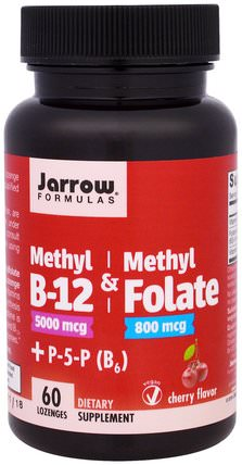 Methyl B-12 & Methyl Folate, 5000 mcg/800 mcg, Cherry Flavor, 60 Lozenges by Jarrow Formulas, 維生素,維生素b,維生素b12,維生素b12 - 甲基鈷胺素 HK 香港