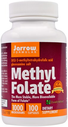 Methyl Folate, 1000 mcg, 100 Capsules by Jarrow Formulas, 維生素,葉酸,5-mthf葉酸(5甲基四氫葉酸) HK 香港