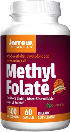 Methyl Folate, 400 mcg, 60 Capsules by Jarrow Formulas, 維生素,葉酸,5-mthf葉酸(5甲基四氫葉酸) HK 香港