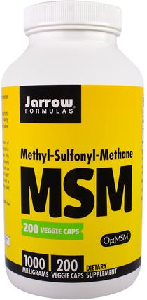 MSM, Methyl-Sulfonyl-Methane, 1.000 mg, 200 Veggie Caps by Jarrow Formulas, 健康,關節炎,骨骼,骨質疏鬆症,msm HK 香港