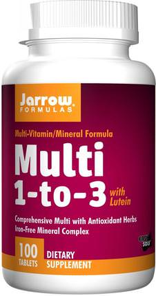 Multi 1-to-3, with Lutein, Iron-Free, 100 Tablets by Jarrow Formulas, 維生素,多種維生素 HK 香港