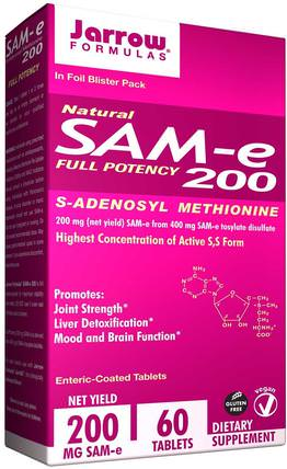 Natural SAM-e (S-Adenosyl-L-Methionine) 200, 200 mg, 60 Enteric-Coated Tablets by Jarrow Formulas, 健康,藥物濫用,成癮,sam-e(s-adenosyl methionine),sam-e 200 mg HK 香港