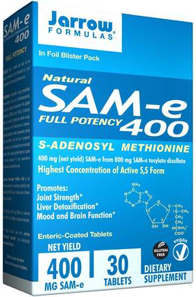 Natural SAM-e (S-Adenosyl-L-Methionine) 400, 400 mg, 30 Enteric-Coated Tablets by Jarrow Formulas, 健康,藥物濫用,成癮,sam-e(s-adenosyl methionine),sam-e 400 mg HK 香港