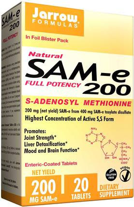 SAM-e (S-Adenosyl-L-Methionine) 200, 200 mg, 20 Enteric-Coated Tablets by Jarrow Formulas, 健康,藥物濫用,成癮,sam-e(s-adenosyl methionine),sam-e 200 mg HK 香港