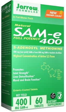 SAM-e (S-Adenosyl-L-Methionine) 400, 60 Enteric-Coated Tablets by Jarrow Formulas, 健康,藥物濫用,成癮,sam-e(s-adenosyl methionine),sam-e 400 mg HK 香港
