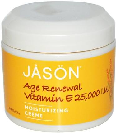 Age Renewal Vitamin E, Moisturizing Creme, 25.000 IU, 4 oz (113 g) by Jason Natural, 健康,皮膚,維生素E油霜,美容,面部護理,面霜,乳液 HK 香港