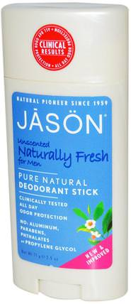Deodorant Stick for Men, Unscented, 2.5 oz (71 g) by Jason Natural, 洗澡,美容,除臭劑 HK 香港