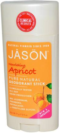 Deodorant Stick, Nourishing Apricot, 2.5 oz (71 g) by Jason Natural, 洗澡,美容,除臭劑 HK 香港