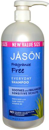 Everyday Shampoo, Fragrance Free, 32 fl oz (946 ml) by Jason Natural, 洗澡,美容,洗髮水,頭髮,頭皮,護髮素 HK 香港