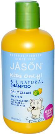 Jason Natural, Kids Only!, Shampoo, Daily Clean, 8 fl oz (237 ml) 洗澡,美容,洗髮水,兒童洗髮水