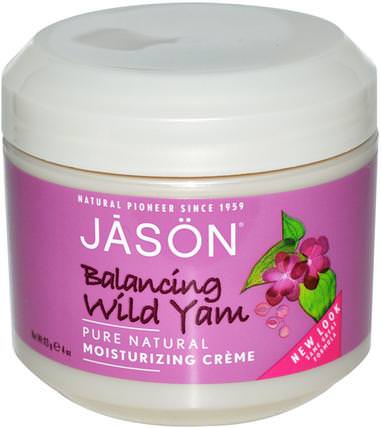 Moisturizing Cream, Balancing Wild Yam, 4 oz (113 g) by Jason Natural, 健康,女性,野山藥,美容,面部護理,面霜,乳液 HK 香港
