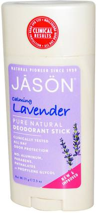 Pure Natural Deodorant Stick, Calming Lavender, 2.5 oz (71 g) by Jason Natural, 洗澡,美容,除臭女性 HK 香港