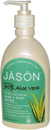 Jason Natural, Pure Natural Hand & Body Lotion, Soothing 70% Aloe Vera, 16 oz (454 g) 洗澡,美容,潤膚露