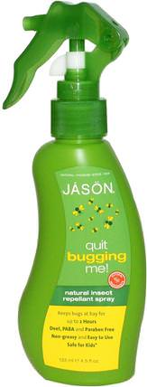 Quit Bugging Me!, Natural Insect Repellant Spray, 4.5 fl oz (133 ml) by Jason Natural, 家庭,蟲子和驅蟲劑,兒童和嬰兒驅蚊劑 HK 香港