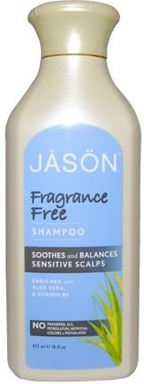 Shampoo, Fragrance Free, 16 fl oz (473 ml) by Jason Natural, 洗澡,美容,洗髮水,頭髮,頭皮,護髮素 HK 香港