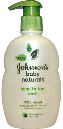 Baby Naturals, Head-to-Toe Wash, 9 fl oz (266 ml) by Johnsons Baby, 洗澡,美容,沐浴露,兒童沐浴露,兒童沐浴露,兒童健康,兒童沐浴 HK 香港