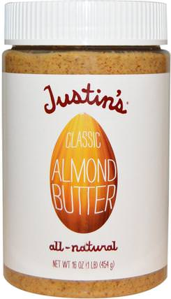Classic Almond Butter, 16 oz (454 g) by Justins Nut Butter, justins堅果黃油,食物,堅果黃油,杏仁黃油 HK 香港