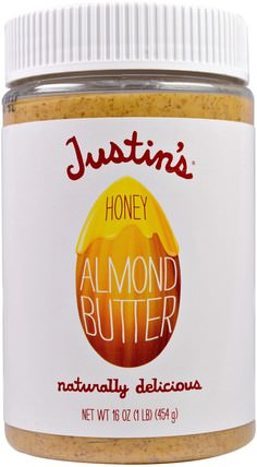 Honey Almond Butter, 16 oz (454 g) by Justins Nut Butter, justins堅果黃油,食物,杏仁黃油 HK 香港