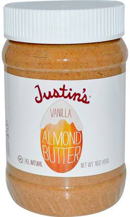 Vanilla Almond Butter, 16 oz (454 g) by Justins Nut Butter, justins堅果黃油,食物,杏仁黃油 HK 香港