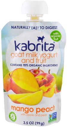 Goat Milk Yogurt and Fruit, Mango Peach with Apple and Pear, 3.5 oz (99 g) by Kabrita, 兒童健康,兒童食品,嬰兒餵養,食物 HK 香港