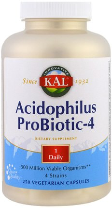 Acidophilus Probiotic-4, 250 Veggie Caps by KAL, 補充劑,益生菌 HK 香港