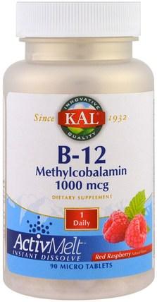 KAL, B-12 Methylcobalamin, Red Raspberry, 1000 mcg, 90 Micro Tablets 維生素,維生素b,維生素b12